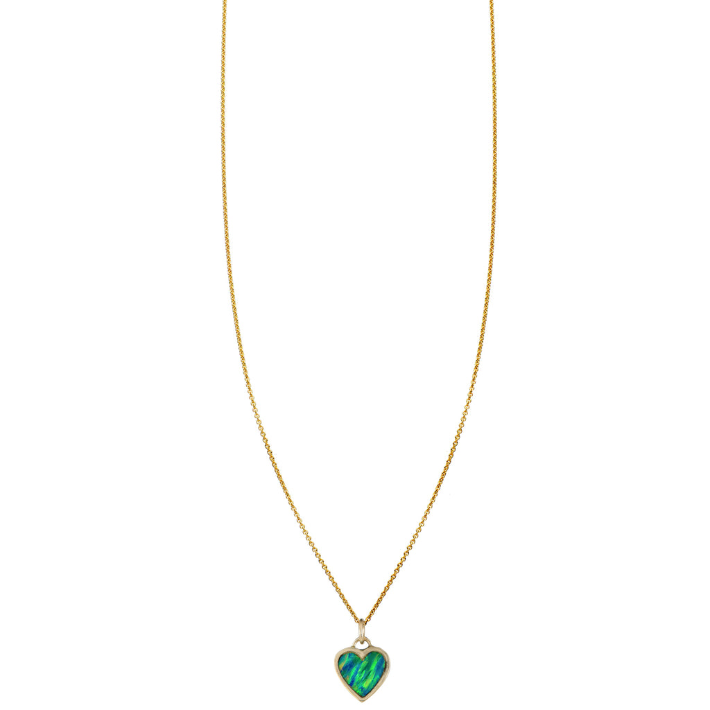 Opal Inlaid Large Heart Necklace