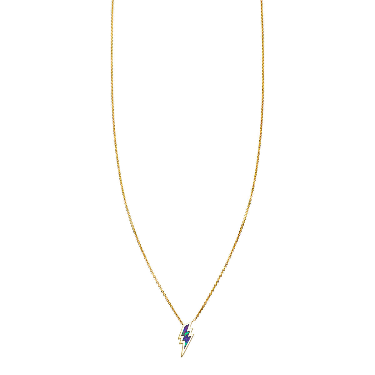 Image of Opal Inlaid Lightning Bolt Necklace