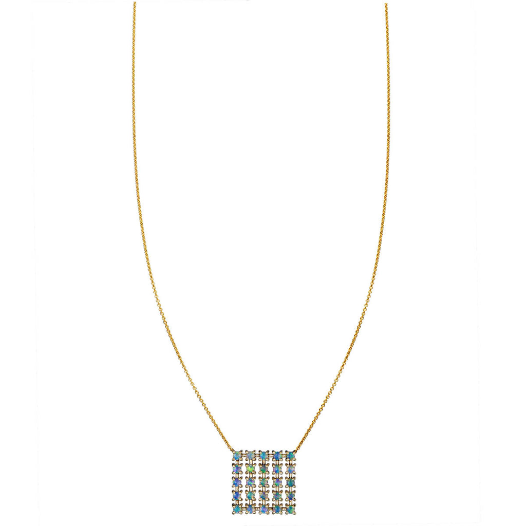 Image of Opal Square Pendant Necklace