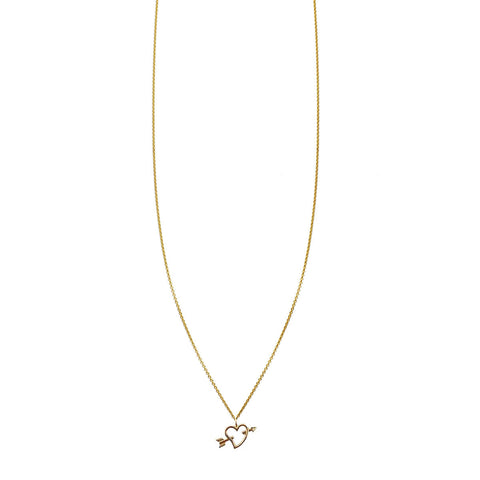 Gold open heart arrow necklace charm