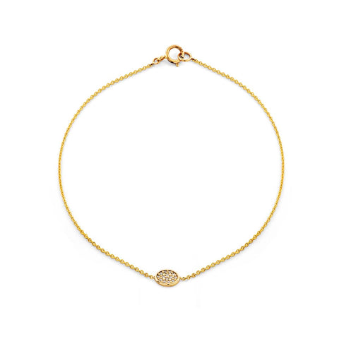 Image of a oval gold & diamond medallion bracelet.