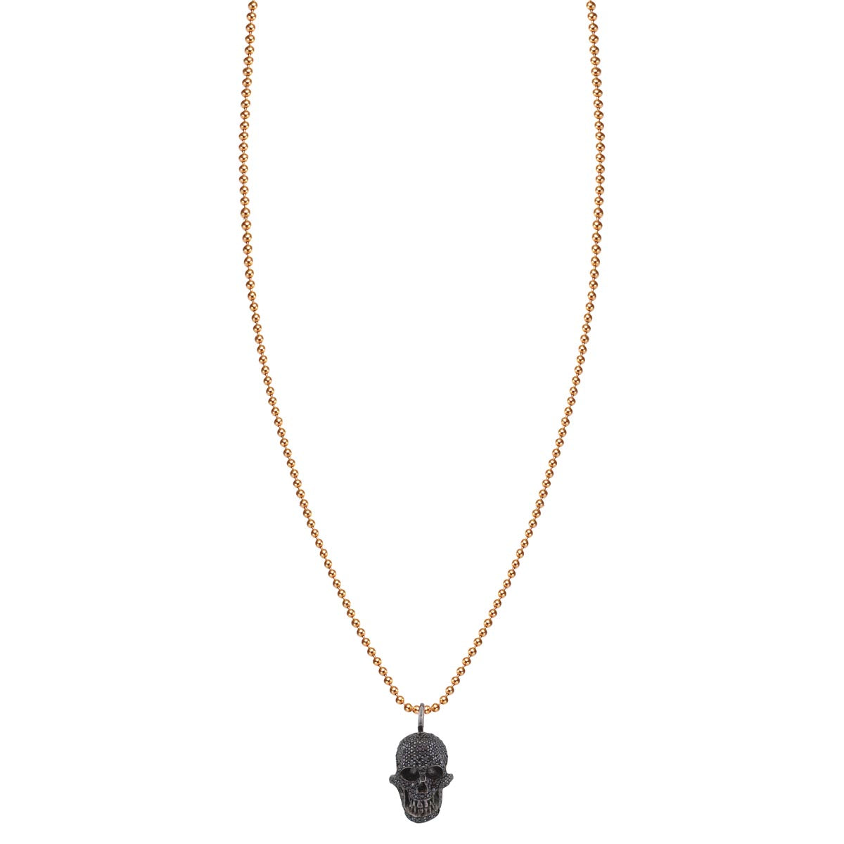 Pave Black Gold Diamond Skull Necklace - Phoenix Roze