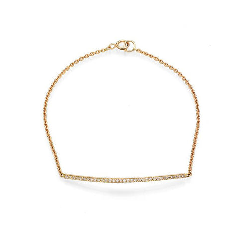 Gold pave' diamond bar women's bracelet