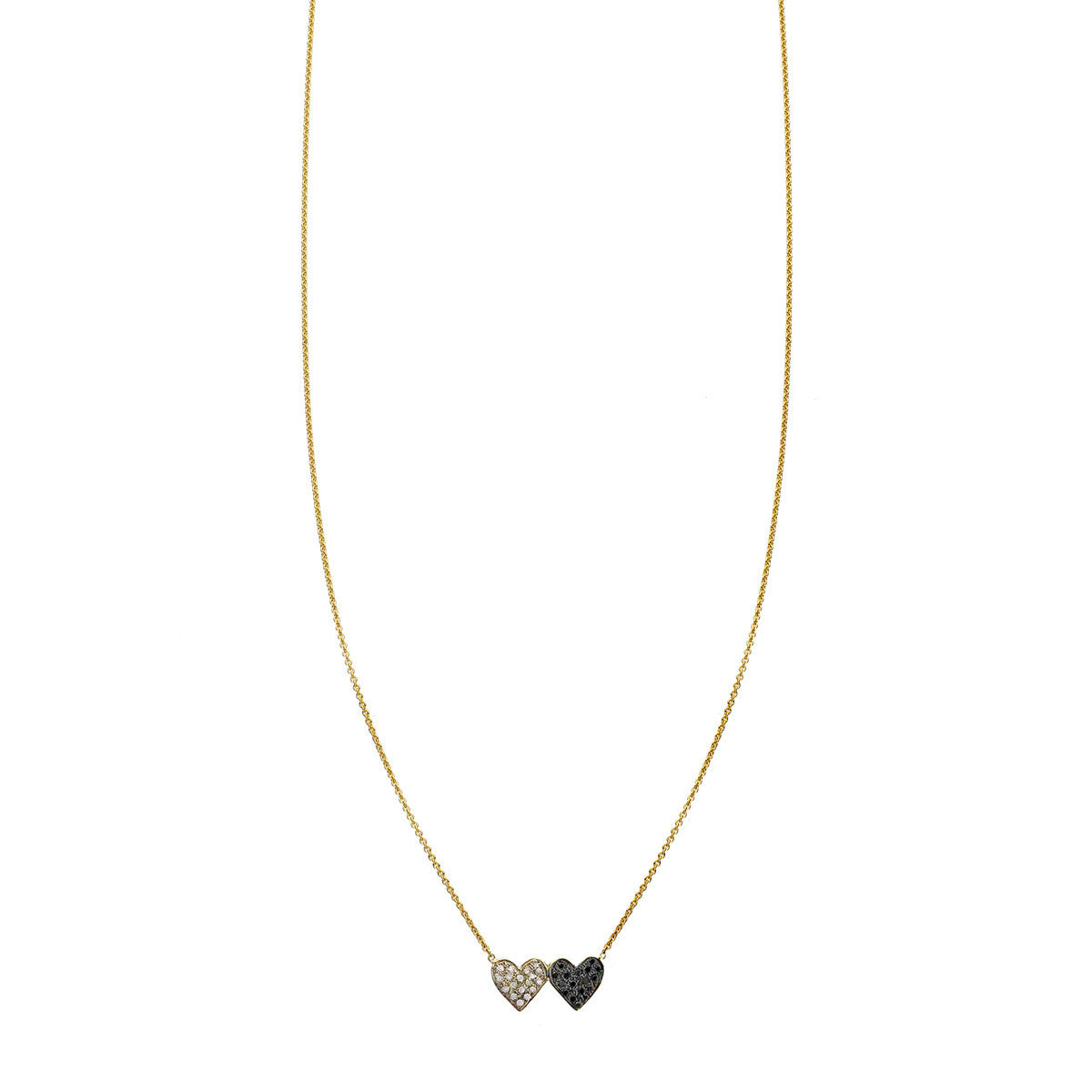 White and black diamond double heart charm necklace