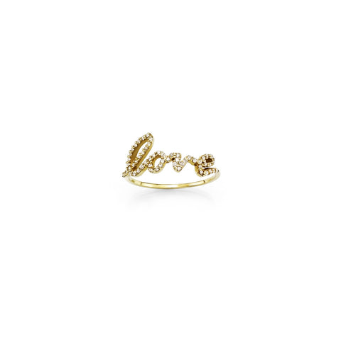 Gold diamond cursive script love word ring for women
