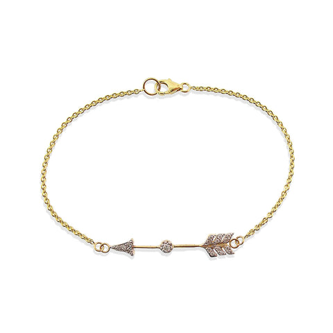 Gold pave' white diamond arrow charm bracelet