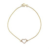 Gold pave' open heart charm bracelet for women