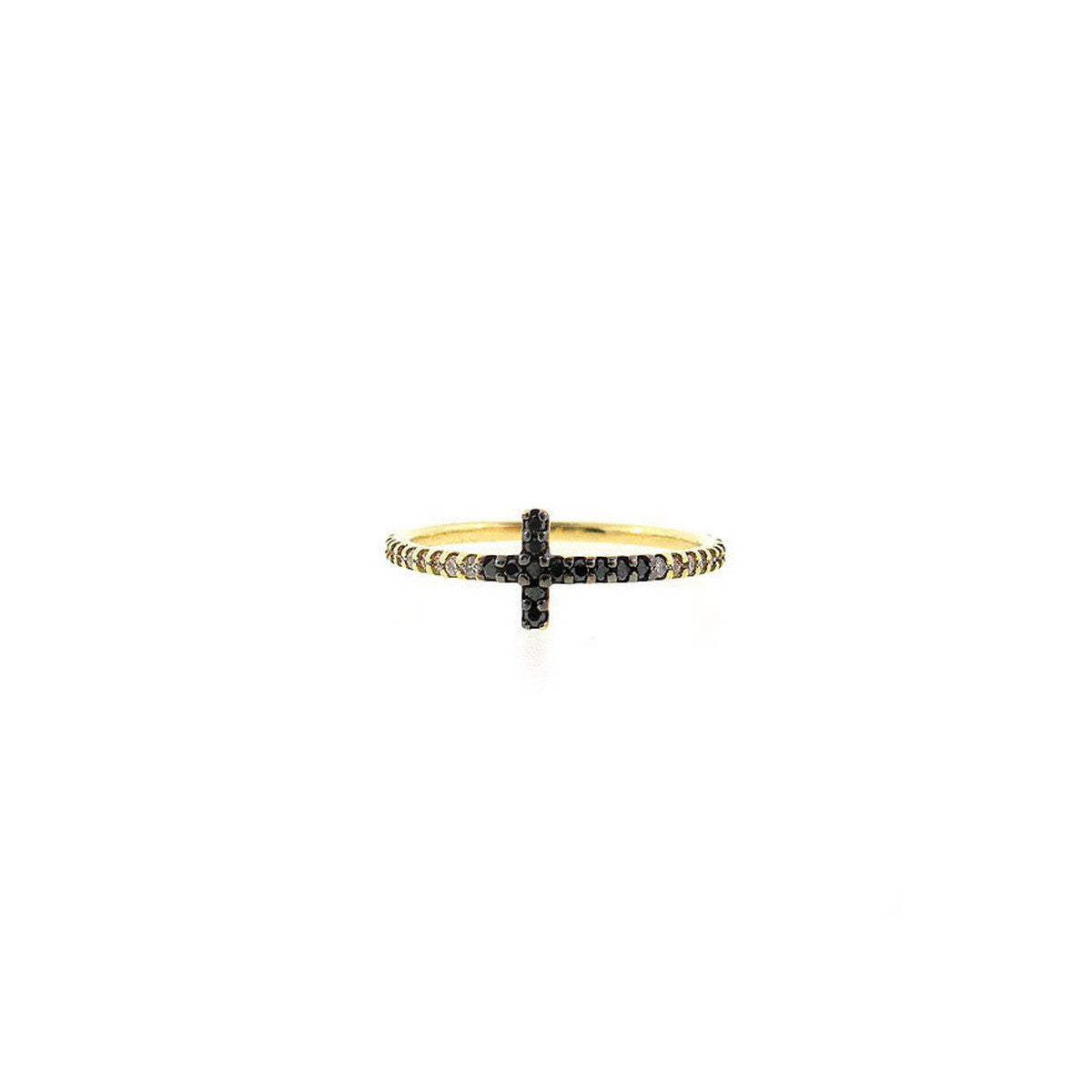Sidways cross eternity ring for women