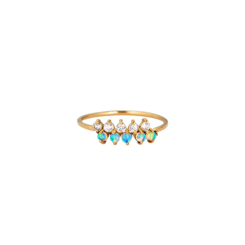 Image of Prong Set Opal & Diamond Ring