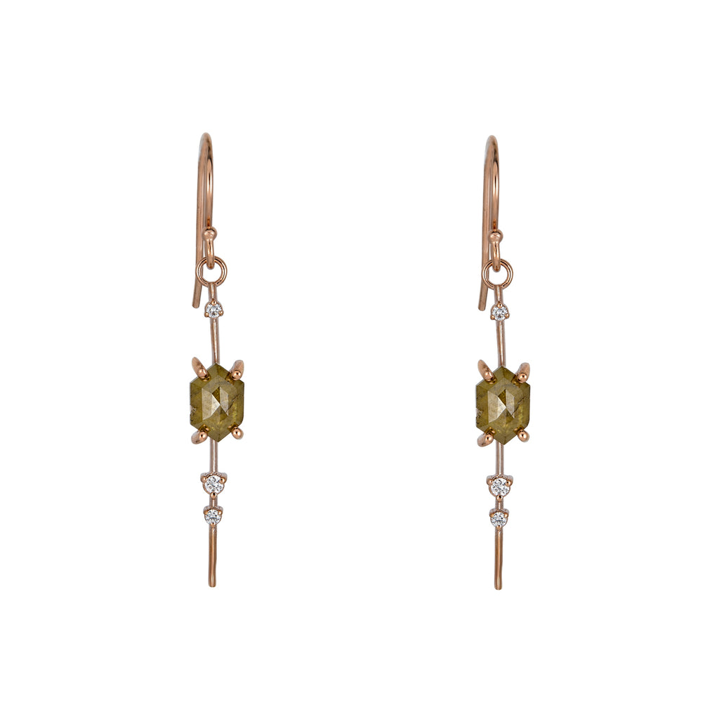 Raw & Round Diamond Pendulum Earrings