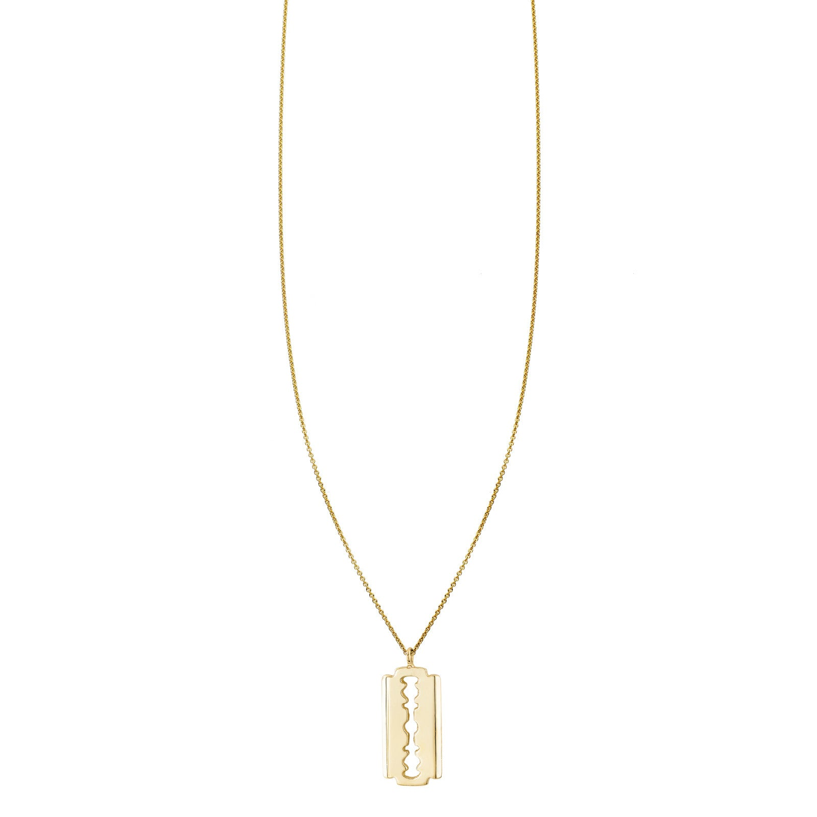 Gold Razor Charm Necklace
