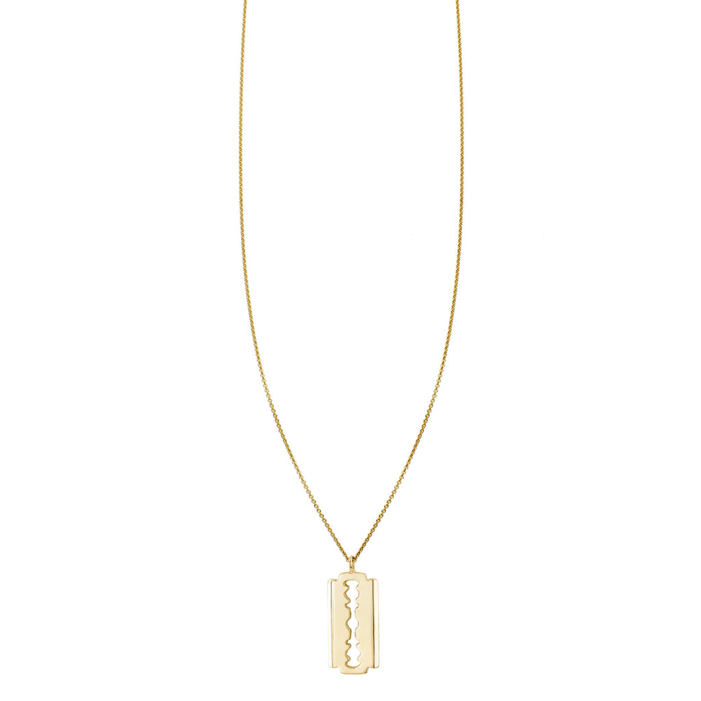 Image of a Gold Razor Charm Necklace