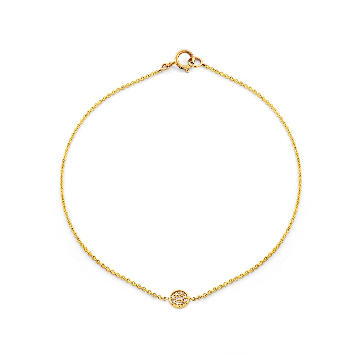 Image of a round gold & diamond medallion bracelet.
