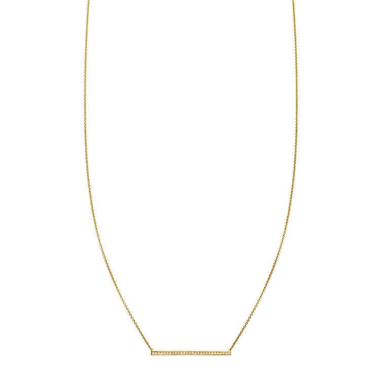 Gold pave' diamond bar pendant necklace for women