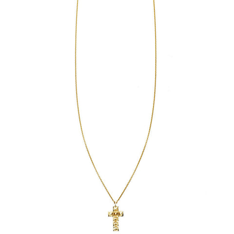 Gold spike cross charm necklace for women