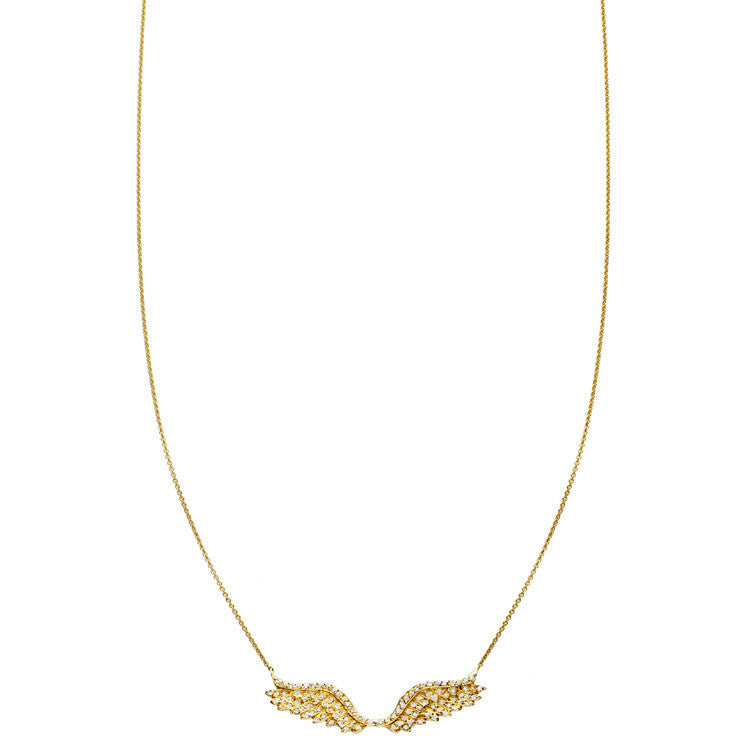 Gold pave' diamond angel wings pendant necklace