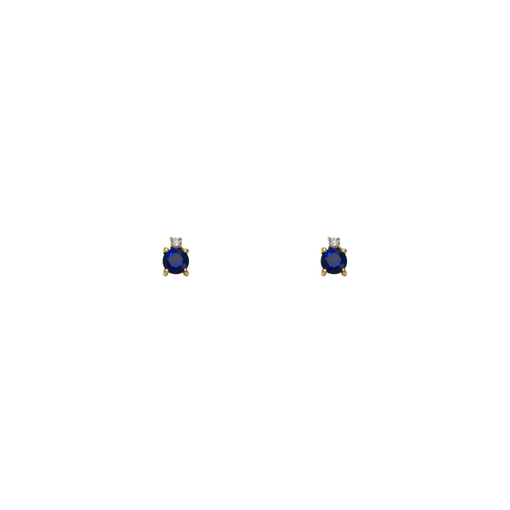 Sapphire, Diamond & Gold Stud Earrings