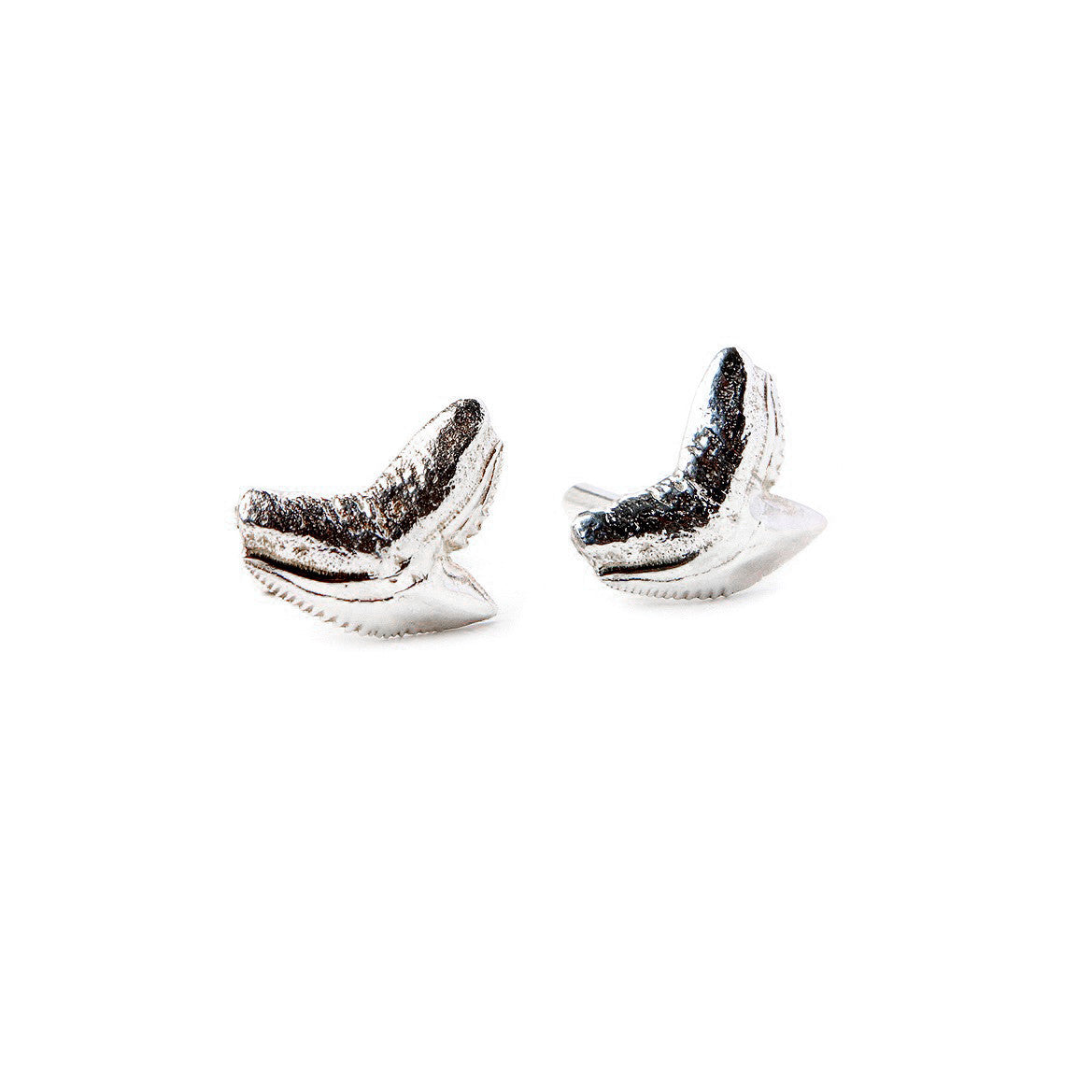 Silver shark and teeth cufflinks for men