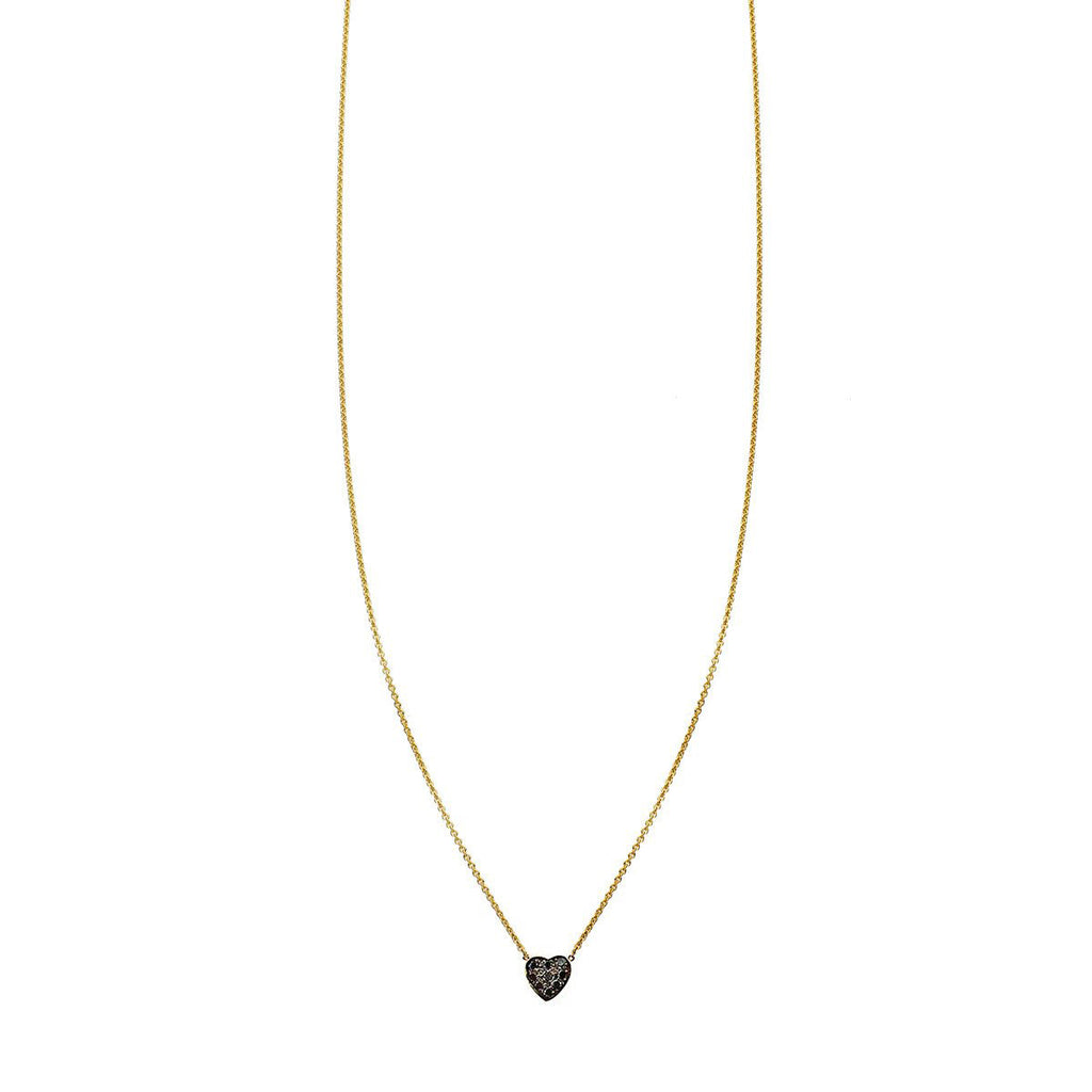 Black diamond pave heart charm pendant necklace
