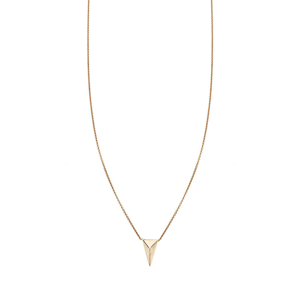 Gold three dimensional spike charm pendant necklace