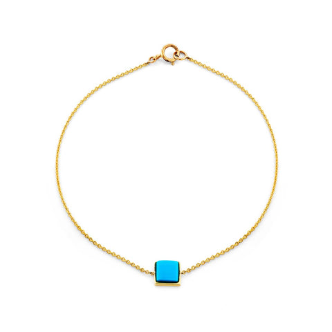 Image of a square cabochon turquoise & gold bracelet.