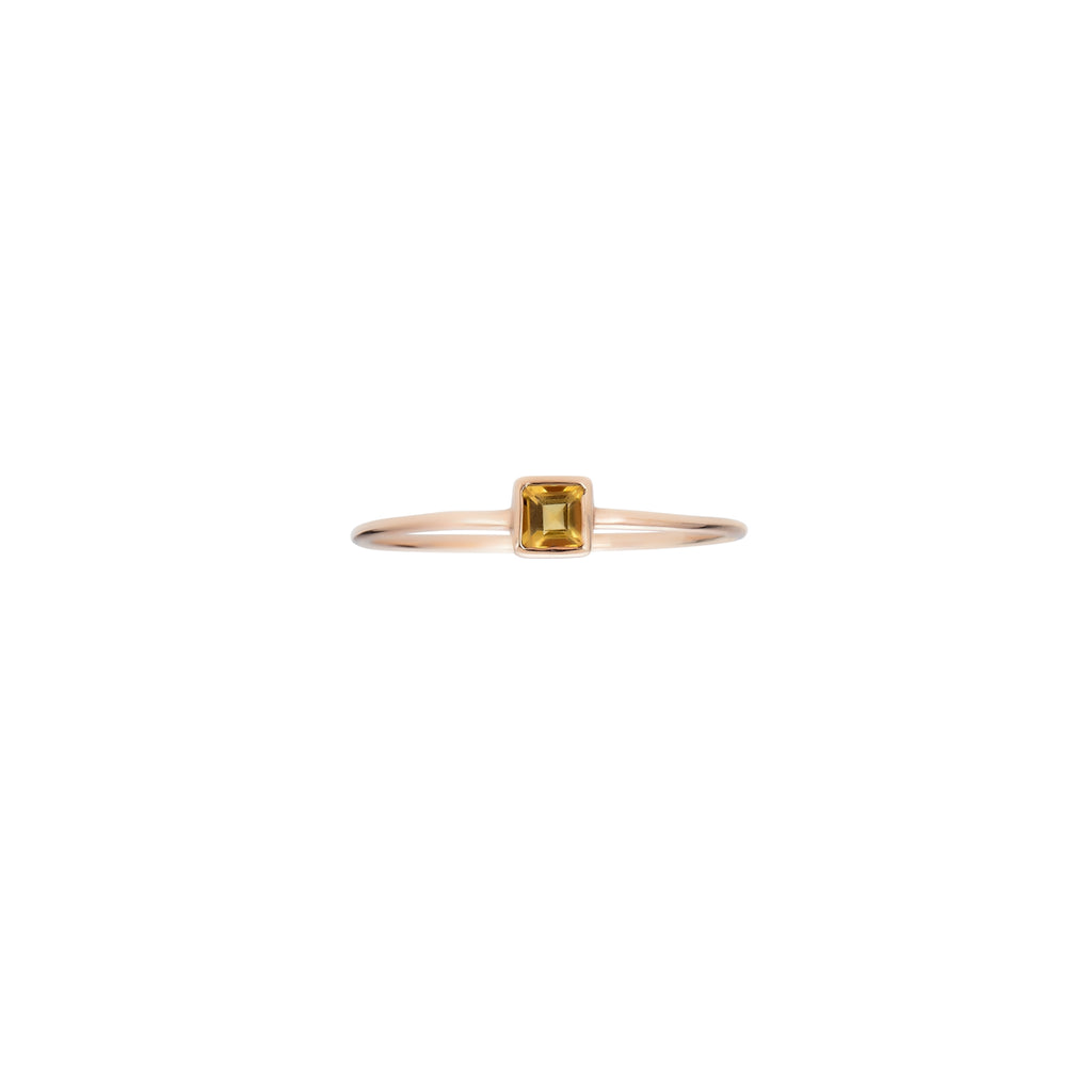Square Cut Citrine Ring