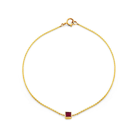 Image of a square cut ruby & gold bracelet.