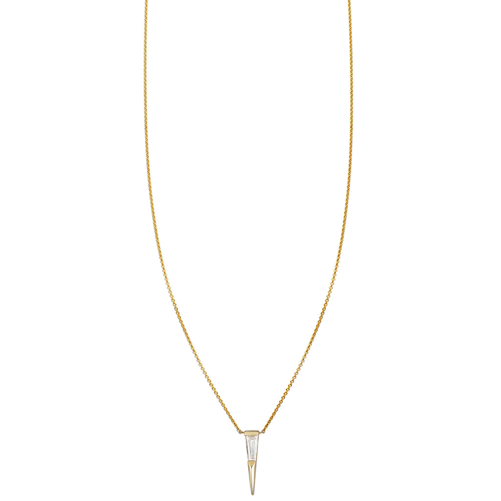 Tapered Baguette Diamond Spike Necklace
