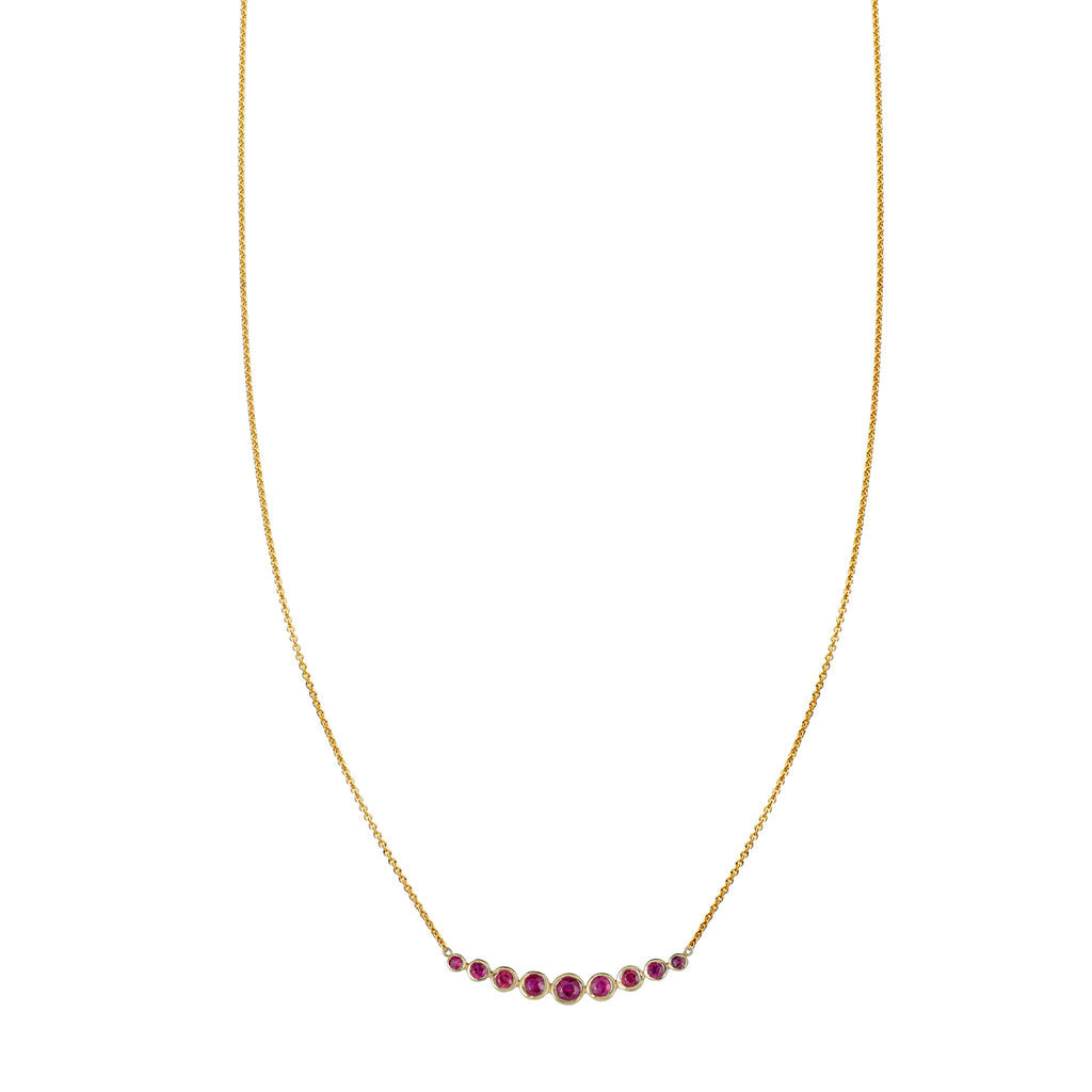 Tapered Ruby Arch Necklace