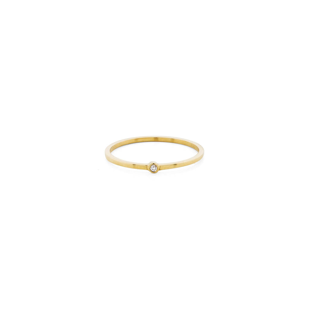 Thin Stackable Diamond & Gold Halo Band