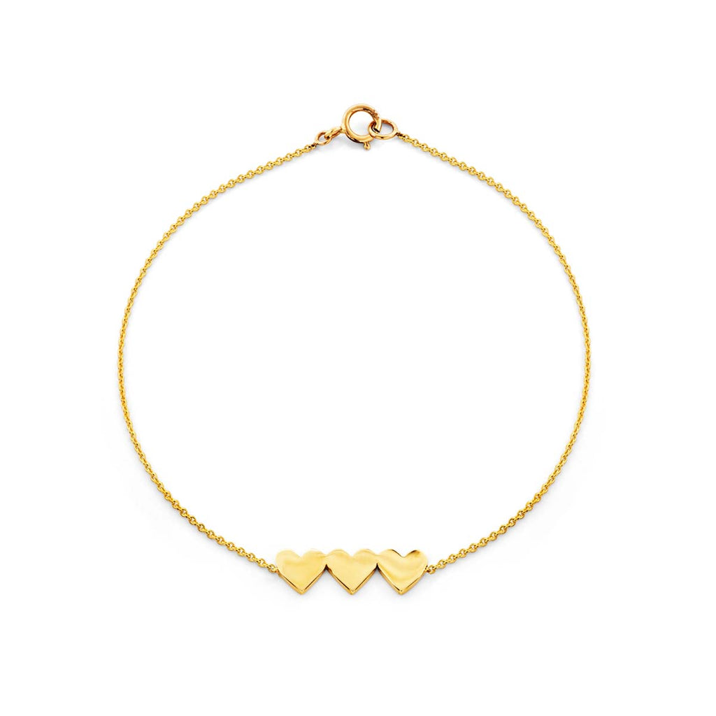 Image of a three gold hearts bracelet.