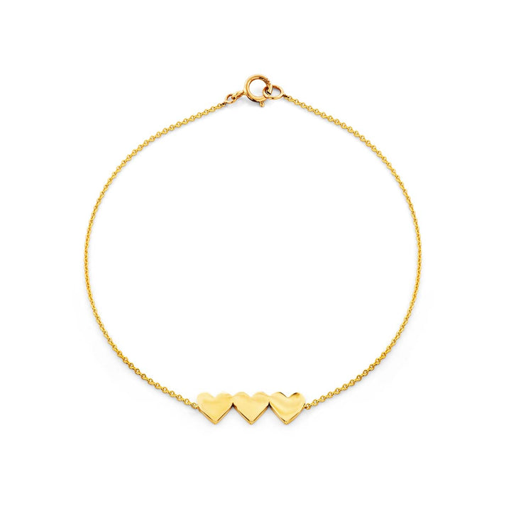 Image of Three Gold Hearts Bracelet