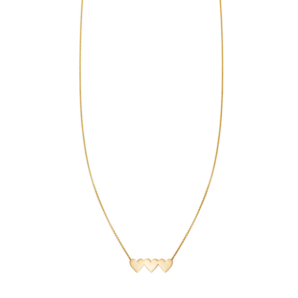 Triple Heart Gold Necklace
