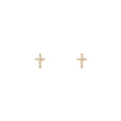 Tiny Diamond Cross Earrings