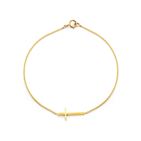Gold sideways cross charm women's bracelet