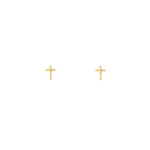 Tiny Gold Cross Stud Earrings