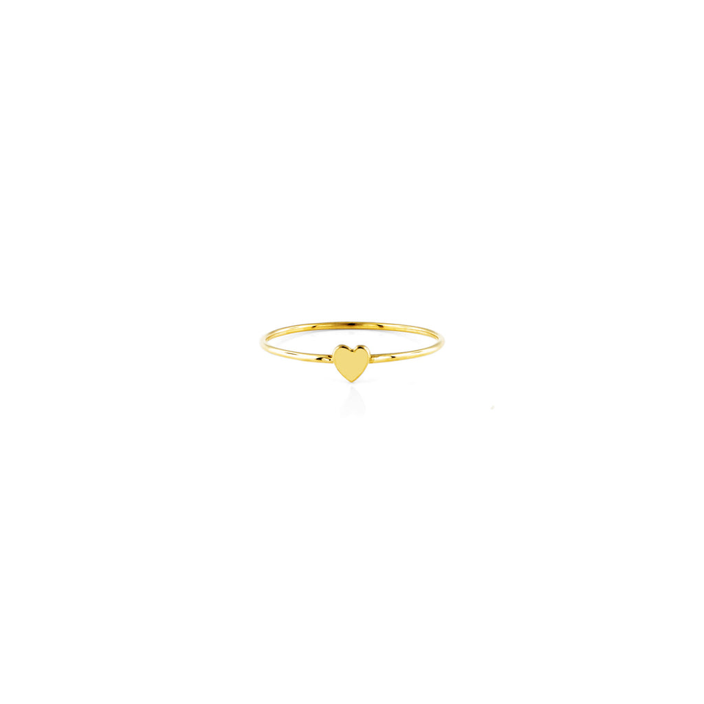 Gold heart charm women's ring