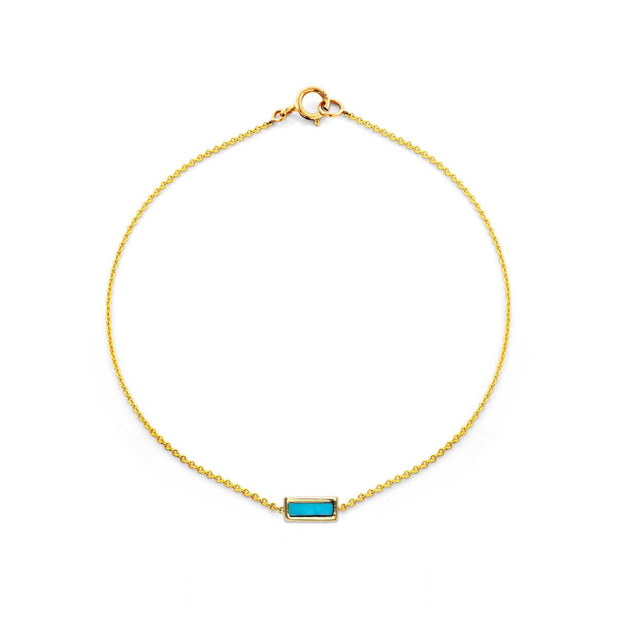 Image of Tiny Inlay Rectangle Turquoise Bar Bracelet