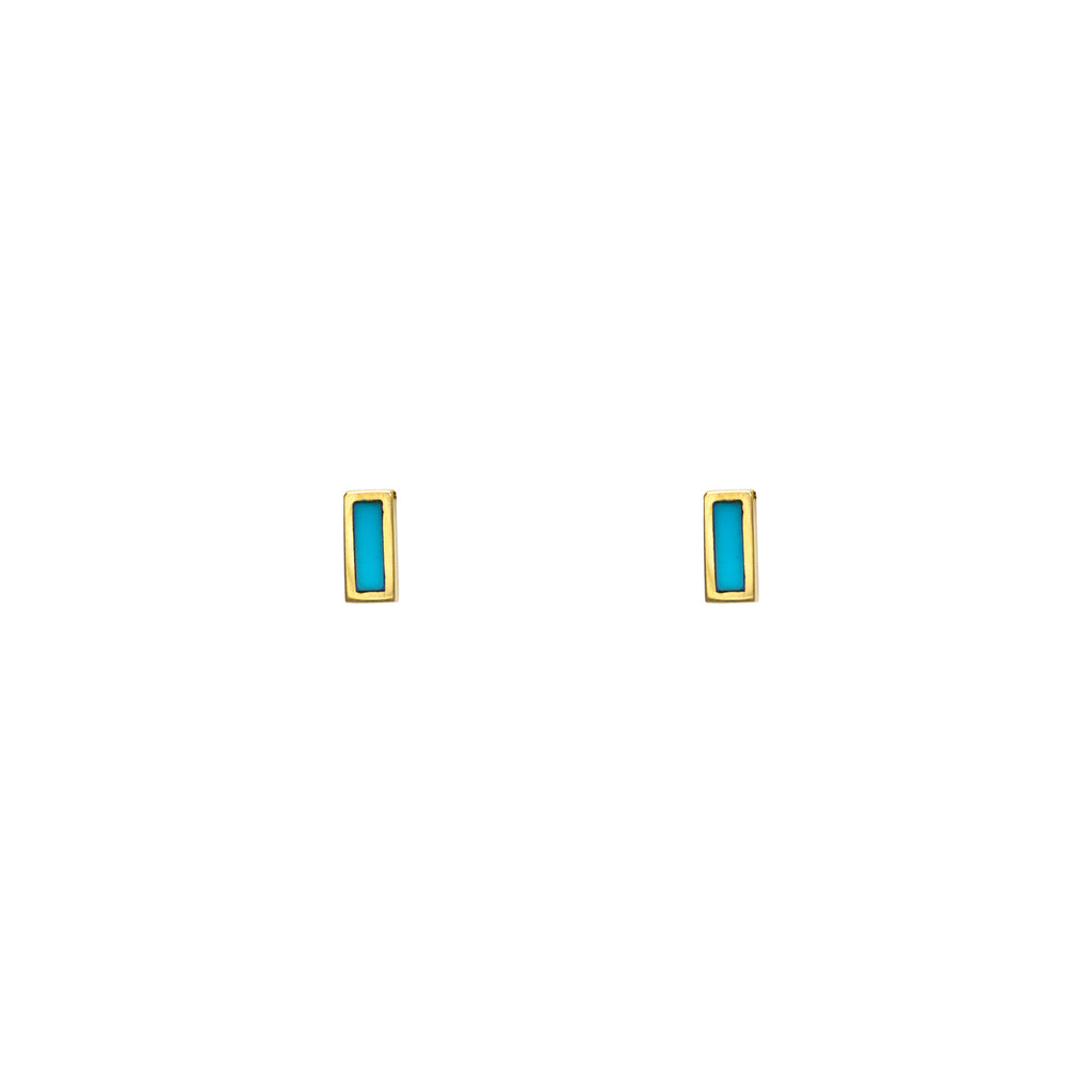 Tiny Inlay Rectangle Turquoise Bar Earrings