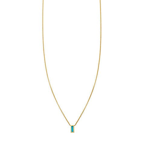 Image of Tiny Inlay Rectangle Turquoise Bar Necklace