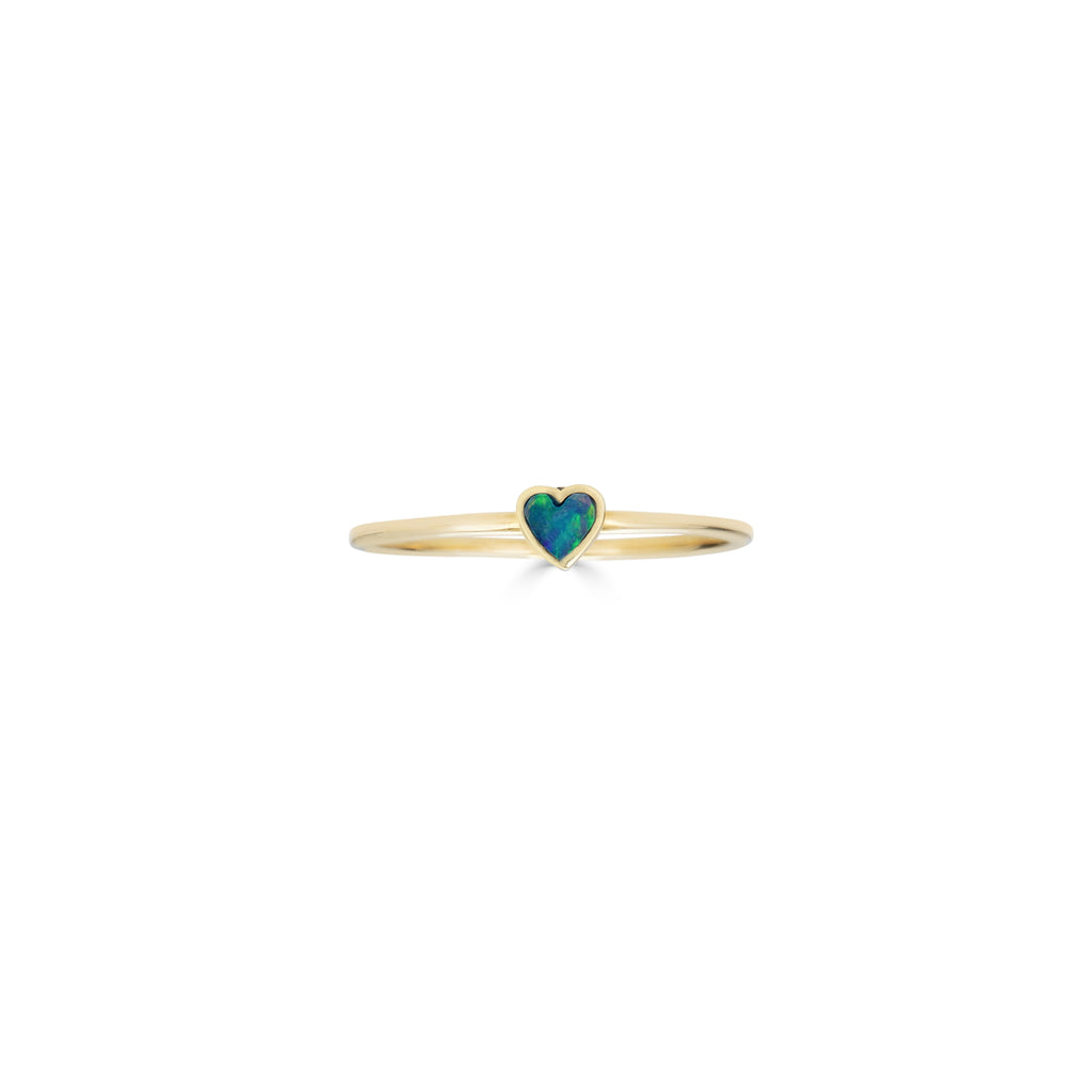 Tiny Opal Inlaid Heart Ring