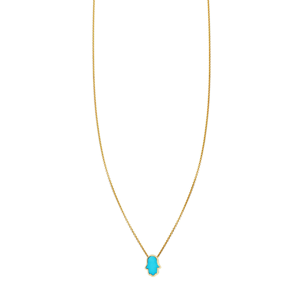 Tiny Turquoise Inlaid Hamsa Hand Necklace