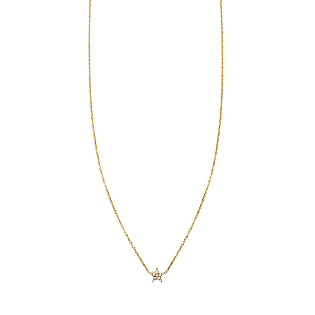 Tiny White Diamond Gold Star Necklace - Phoenix Roze