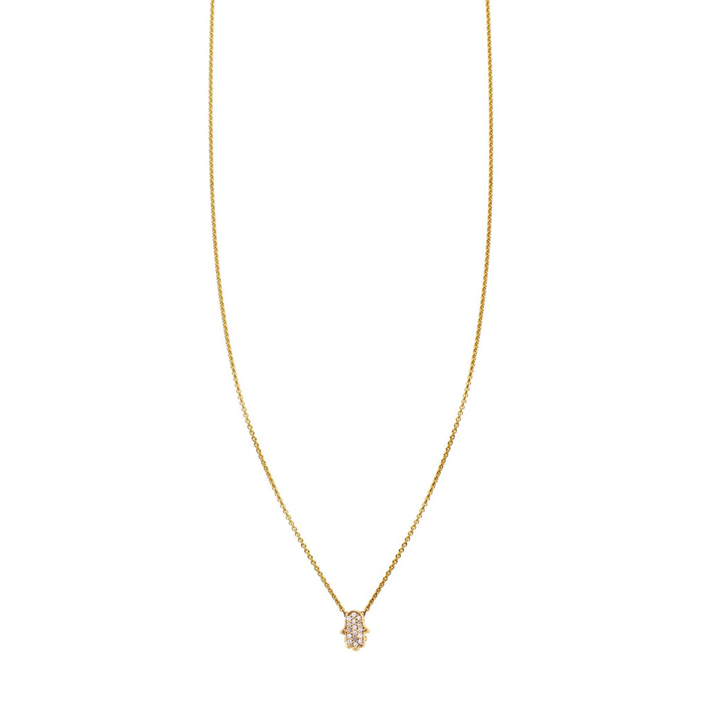 Tiny White Diamond Hamsa Hand Necklace - Phoenix Roze