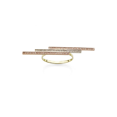 Triple gold bar women's ring with diamonds