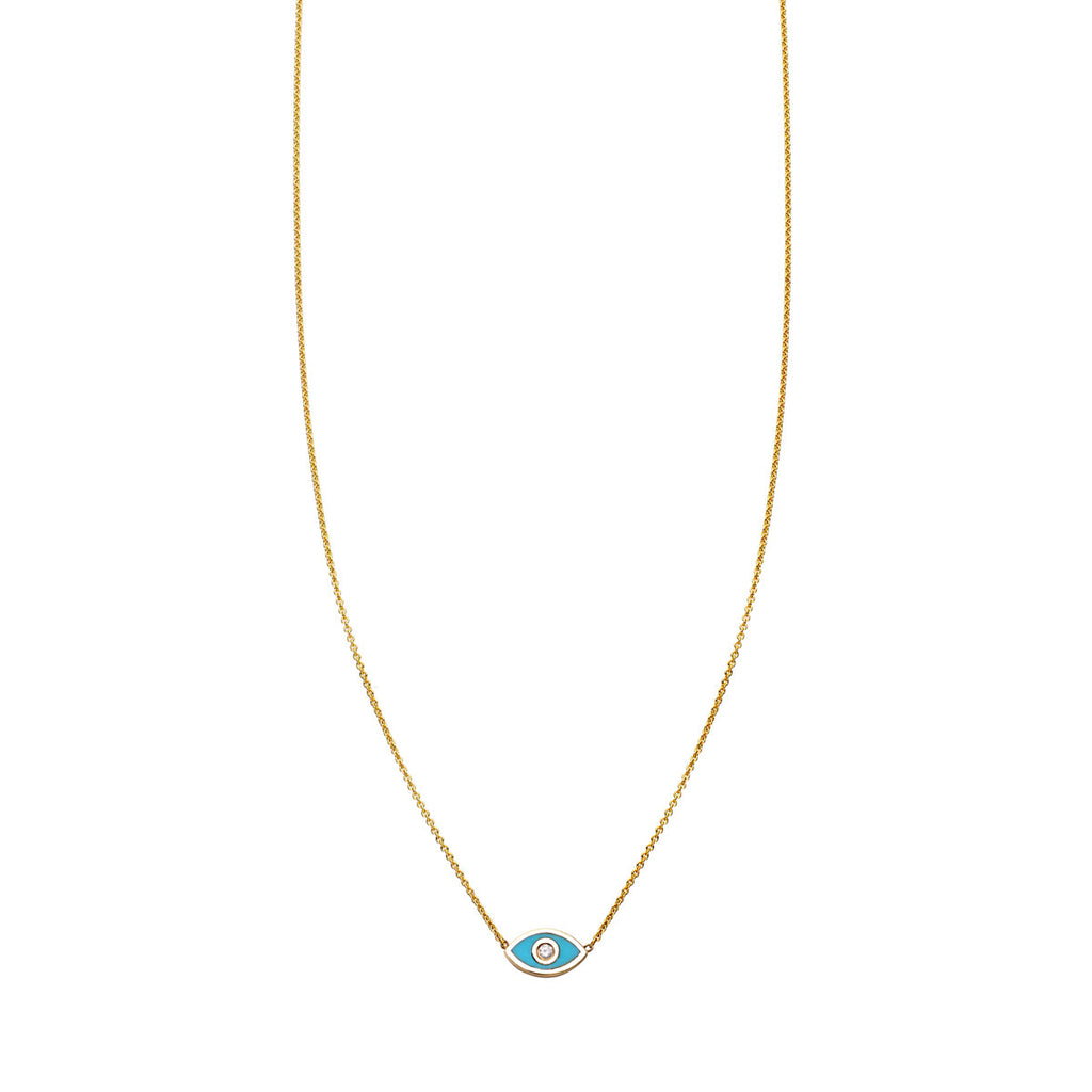 Image of Turquoise & Diamond Evil Eye Necklace