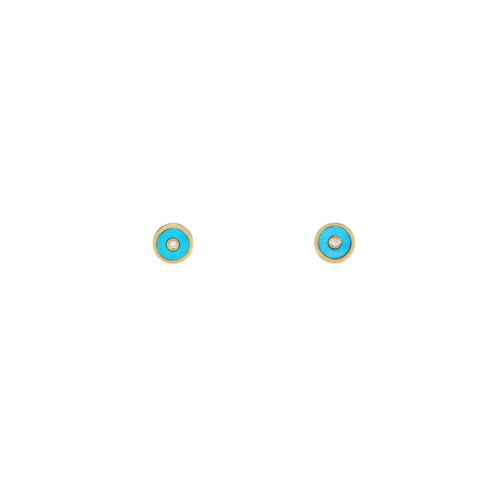 Turquoise & Diamond Sun Disk Stud Earrings