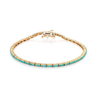 Image of Turquoise & Gold Tennis Bracelet