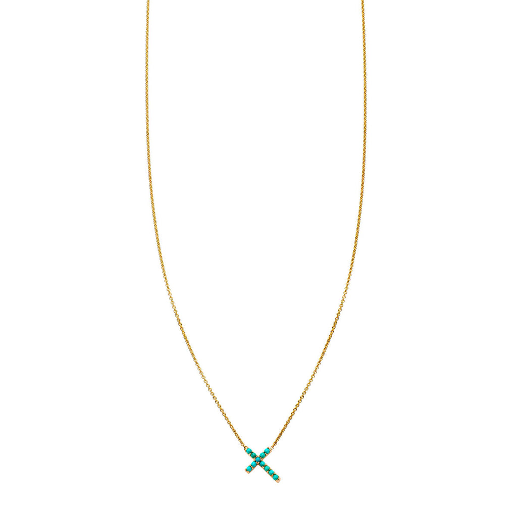 Image of Turquoise & Gold Tilted Cross Necklace