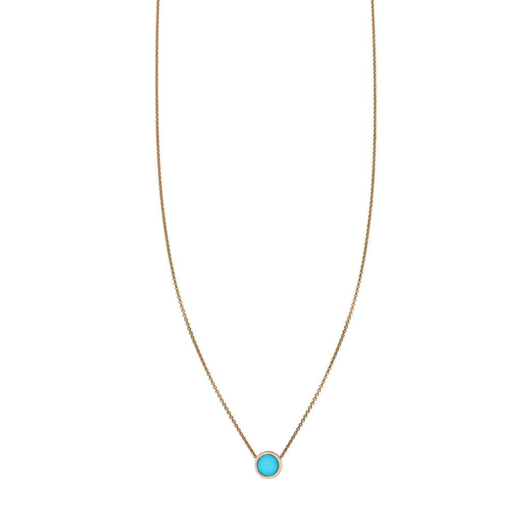 Turquoise Inlaid Circle Necklace